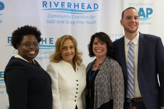 NYS OASAS LI Field Office Regional Coordinator Antonette Whyte-Etere, Commissioner Arlene González-Sánchez, CAP Executive Director Felicia Scocozza, and OASAS Addictions Specialist Jeffrey McGuire at the Talk2Prevent launch at Riverhead High School