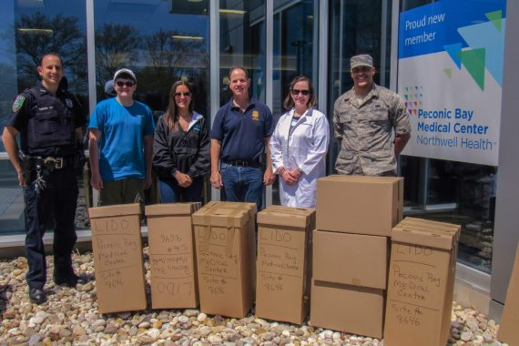 Riverhead Community Coalition members from the Riverhead Police Department, Youth Coalition, Riverhead CAP, DEA Special Agent Brad Cheek, PBMC Health, and Air National Guard Counterdrug Task Force with 163 pounds of medication collected at PBMC on 4/30/16.